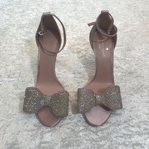 NWOT Kate Spade Rhinestone Bow Satin Heel Pink